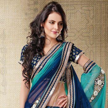 Shaded Blue Net Lehenga Style Saree With Blouse: SWS4196