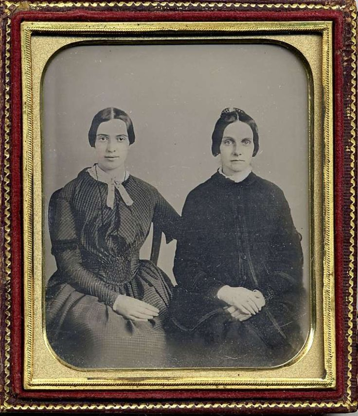 Poet Emily Dickinson (left) would have been about 30 in this daguerreotype, dated around 1859 and believed to also show her friend Kate Scott Turner. Photo: Associated Press