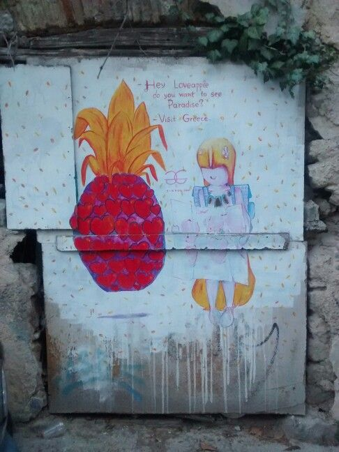 Do you want to see #paradise? Visit Greece. Street art in #Plaka neighborhood.#VisitGreece #streetart #travel #igtravel #travellingtogreece #travelling #travelncycle #Athens #travelpic