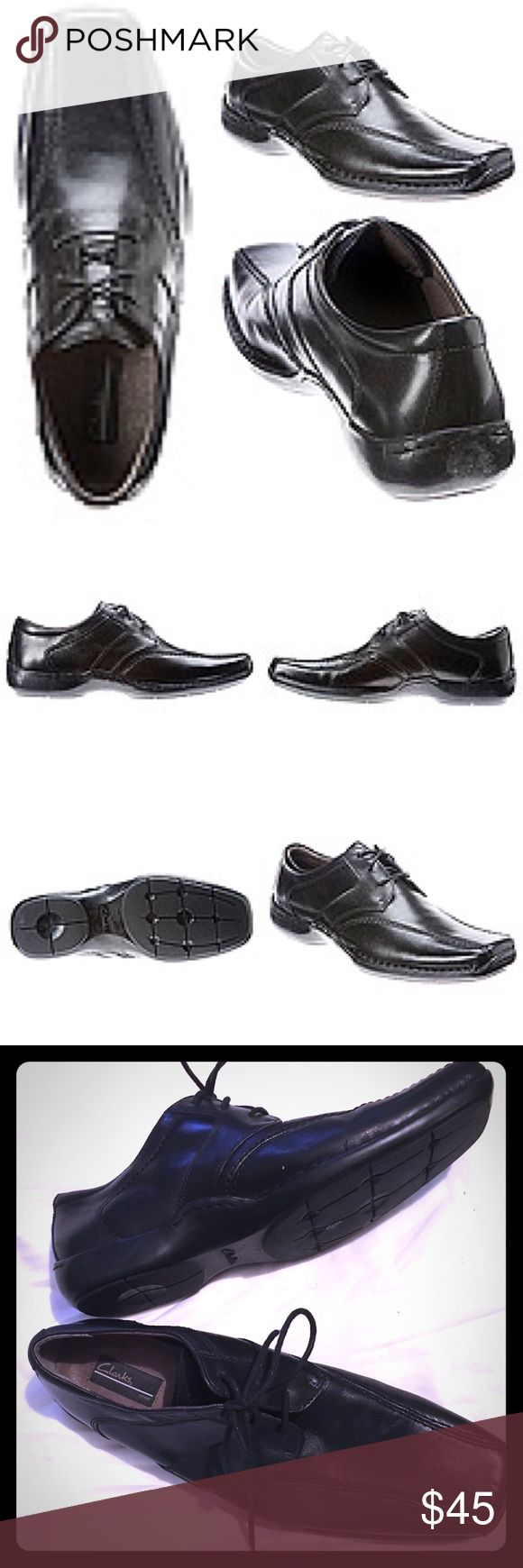 Men's Clarks Koval leather oxfords Men's Clarks Koval leather oxford shoe designed to take on the Monday through Friday grind from the Clarks® Collection is a men's lace up shoe crafted of rich black leather and features an OrthoLite® footbed for superior comfort. It's also outfitted with a discreet gore panels, making it easier to take on and off. Pair these ultra-wearable shoes with slacks or dark-wash denim, especially when you know it's going to be a long day. Great preloved condition…