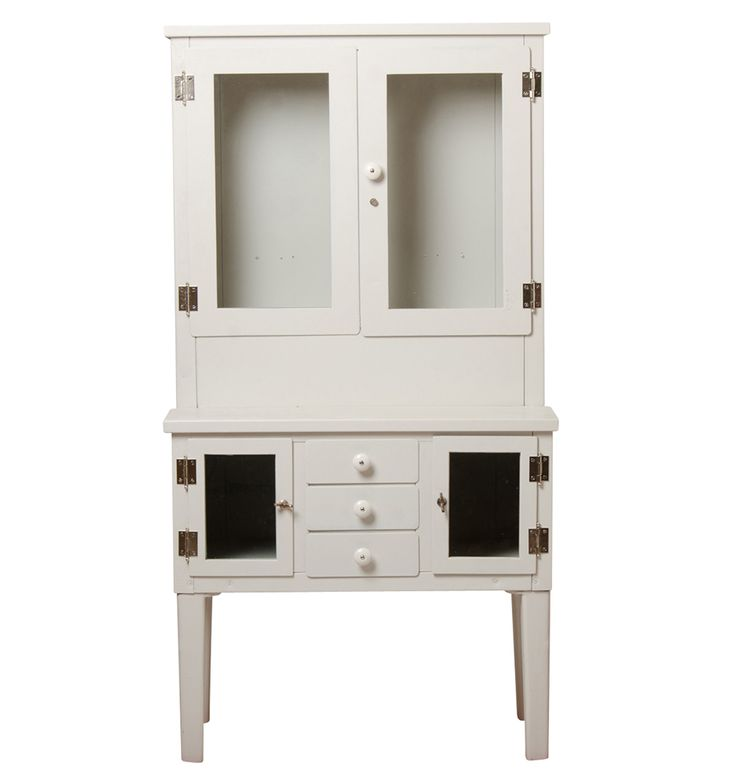 Classic Glass Doored Medical Cabinet w/ Porcelain Knobs  Circa 1930s F1856