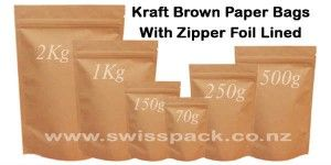 Brown Paper-Kraft Look Pouches. Visit http://www.swisspack.co.nz/kraft-look-pouches/