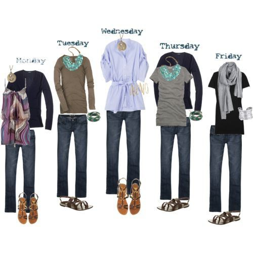 Week Wardrobe:  Casual Outfits: Style, Clothing, Day Trips, Cute Outfits, Packs Lights, Outfits Ideas, Casual Outfits, Travel Packs, Travel Wardrobes