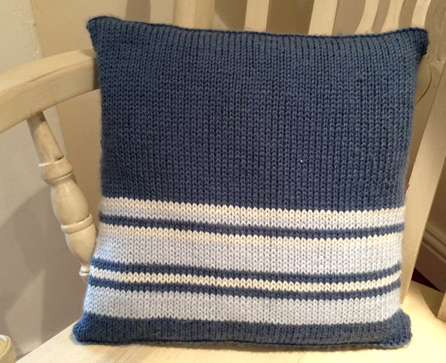 Hand Knitted Cushion Cover - Luxury Merino with... - Folksy