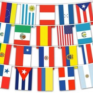 Flags to Celebrate Hispanic Heritage Month! South, Central, Latin America: Spanish Speaking Countries 22 String Flags