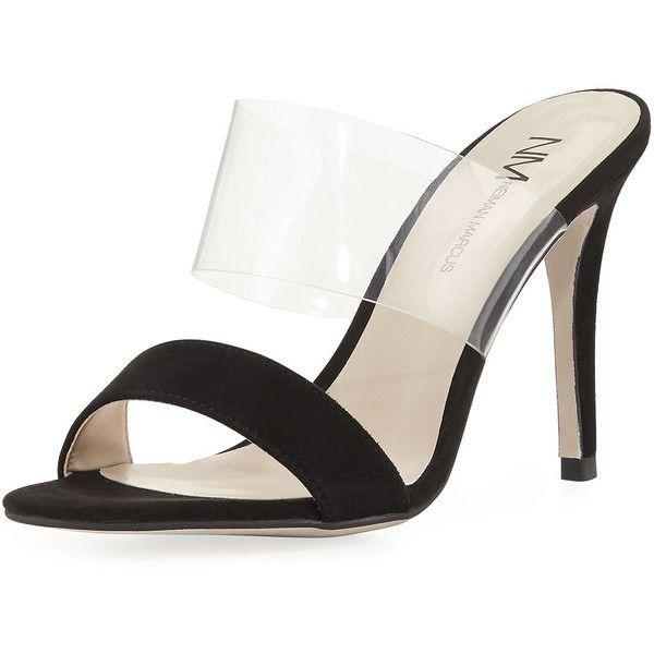 Neiman Marcus  AMAL MULE ($89) ❤ liked on Polyvore featuring shoes, black, mule shoes, neiman marcus shoes, black mules, black suede mules and black strap shoes