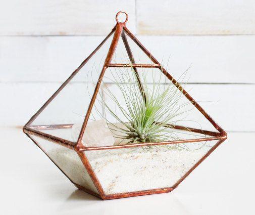 Air Terrarium Kit, pyramid top glass terrarium for hanging or to sit -- copper or silver color -- terrarium supplies -- eco friendly. $55.00, via Etsy.