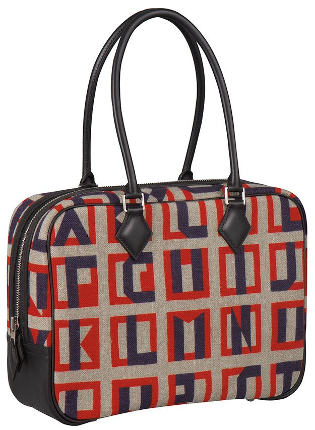 043d2fe3fdf Plume 28 bag in Lettres au carré print toile de camp and Swift calfskin