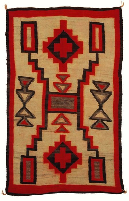Navajo Rug Geometric Pattern In Orange Brown And Gray On A Cream Field