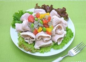 夏野菜と豚しゃぶのサラダ しそおろし添え