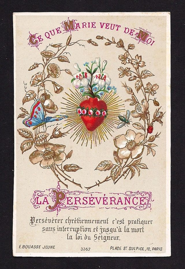 Immaculate Heart of Mary Antique Gold Print Holy Card Perseverance - 1846