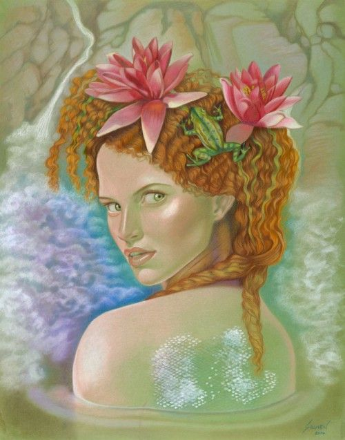 Water Nymph / Colored Pencils, Combination Technique / 19.5 x 25 in #art #coloredpencils #fairies #fantasyart