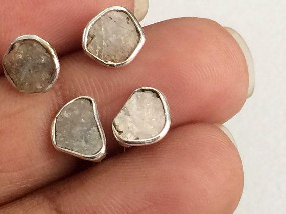 Light Brown Slice Rough Diamond Studs Diamond by gemsforjewels