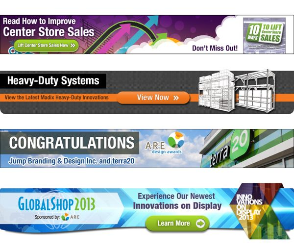 Examples of different banner ad layout and copy