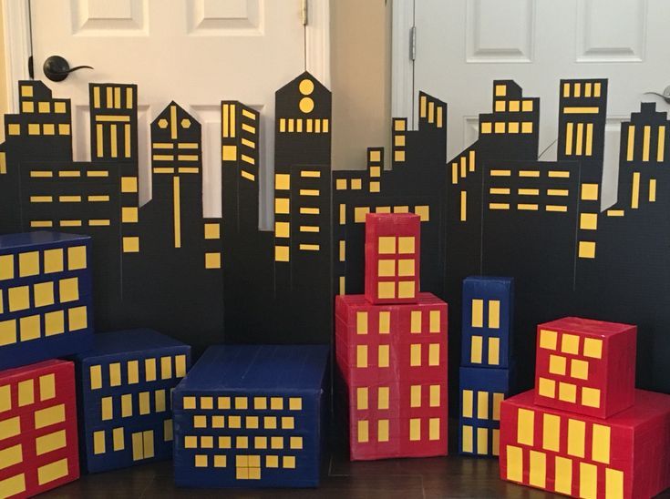 Superhero Backdrop and buildings for kids' birthdays