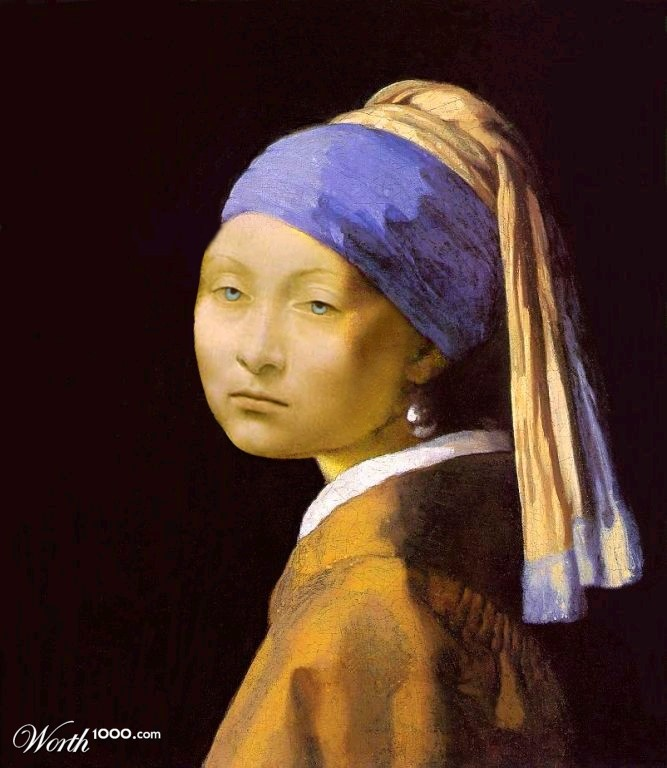 """""""Pearl"""" by PeterAAAWelch. Concept: an artist who can only paint like Leonardo Davinci tried to paint Vermeer's Girl With The Pearl Earring."""