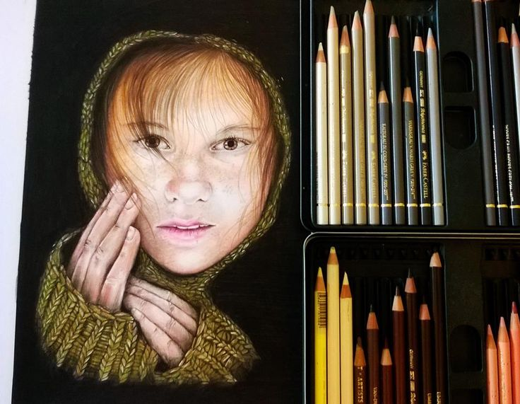 'Touch'  coloured pencil portrait - Faber Polychromos www.helesgreen.co.uk