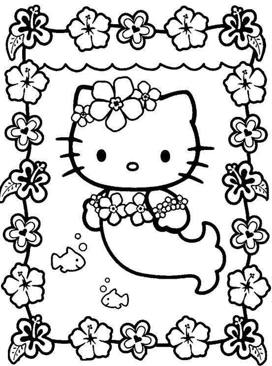 my serra loved hello kitty and ivy rose loved the little mermaid coloring pages - Coloring Pages Kitty Summer