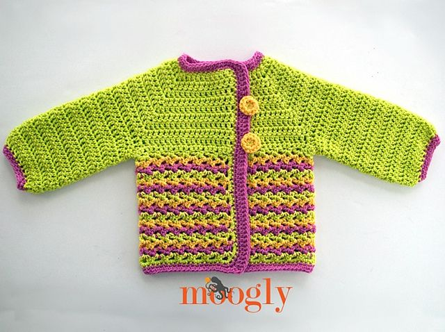 This crocheted baby sweater is a really easy pattern that can be done in so many colours!