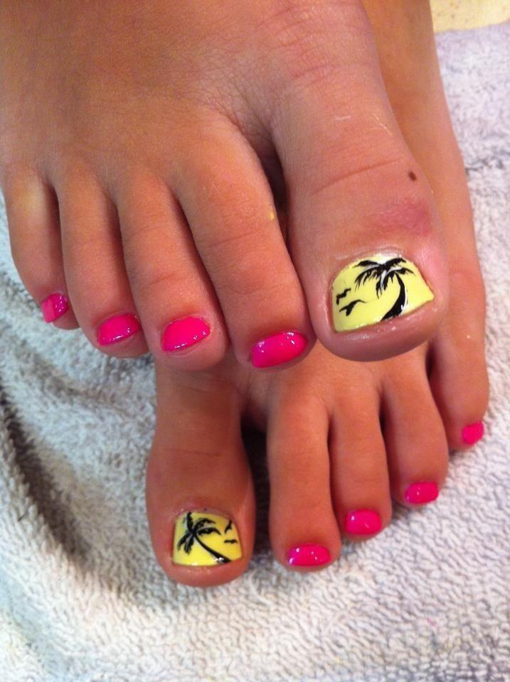 Summer Nail Designs: Yellow palm tree #♛ #NailTrends