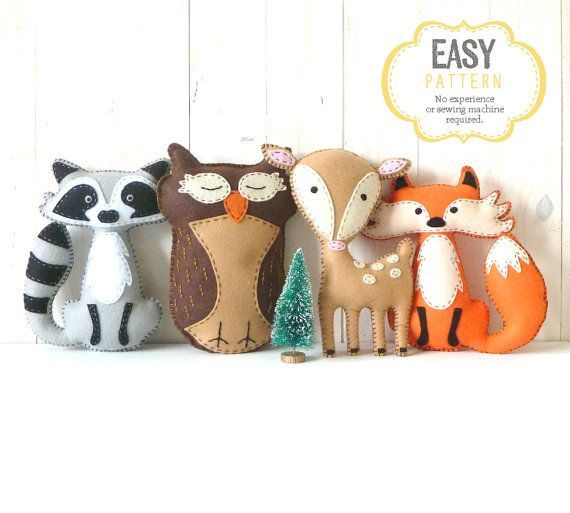 This listing is for four felt woodland forest stuffed animal hand sewing patterns: a fox, a deer, an owl, and a raccoon.  ~~~o~~~o~~~o~~~o~~~o~~~o~~~o~~~  • This is a DIGITAL DOWNLOAD, not a PHYSICAL PRODUCT. You will not receive anything in the mail / by post. • You are welcome to sell any finished products made from the pattern(s). Please do not sell or share the patterns themselves.  • Shop for more patterns: http://www.littlesoftieshoppe.etsy.com  ~~~o~~~o~~~o~~~o~~~o~~~o~~~o…