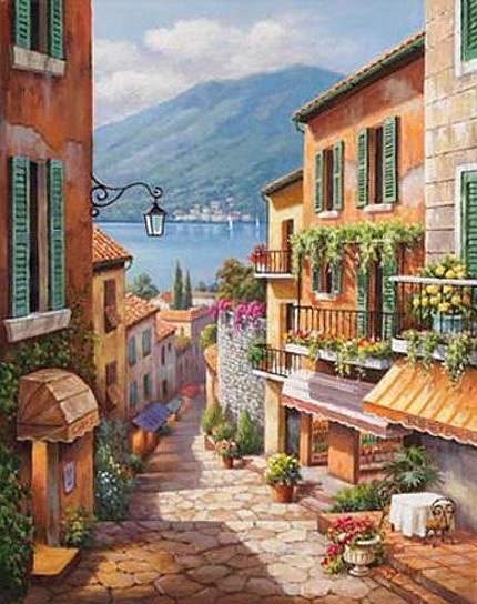 This stunning scene was painted by Artist Sung Kim who traveled throughout Europe before immigrating to the United States in 1980. For the last 20 years, Sung has worked with various fine art galleries and has produced over 400 original landscape paintings.