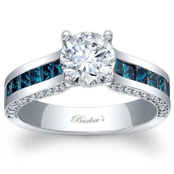 Barkev's 14K Blue Diamond and White Gold Princess Cut Diamond Channel Set Engagement Ring Featuring 0.99 Carats Princess Cut Diamonds, 0.34 Carats Round Cut Diamonds Style 7956LBDW