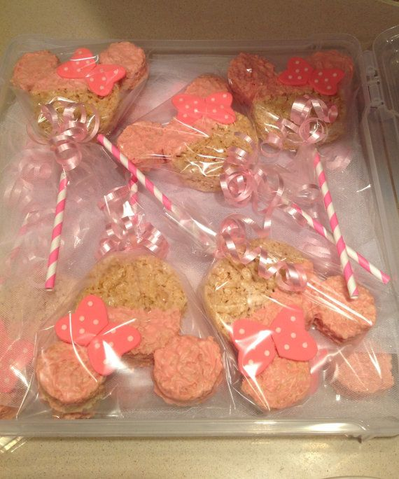 "MINNIE MOUSE 5"" Rice Krispie Treat Pops with Fondant Bow - ONE Dozen - Great Party Favor for Minnie Themed Birthdays and First Birthdays"