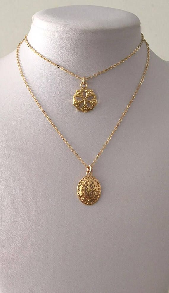 Round Gold Charm Necklace Gold Flower Pendant Necklace Gold Round Pendant Gold Flower Charm Necklace Layering Gold Necklace Gift For Her Flower Charm Necklace Gold Charm Necklace Gold Medallion Necklace