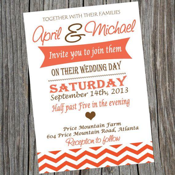 Invitation de mariage imprimable simple.  Invitation cérémonie de mariage.  Invitation de mariage de Chevron