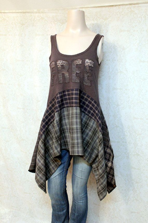 REVIVAL Boho Shirt, Hippie Bohemian Junk Gypsy Style, Mori Girl, Lagenlook…
