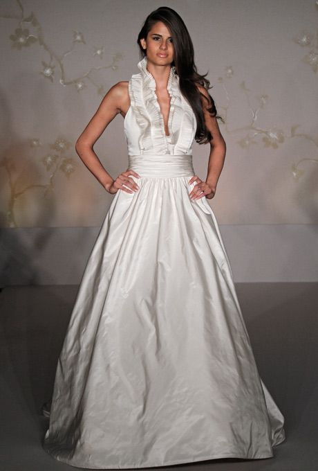 Brides jim hjelm ivory silk taffeta bridal ball gown for Jewelry for halter wedding dress