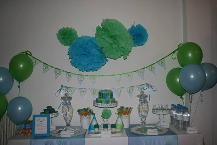 Blue and green 1st birthday party