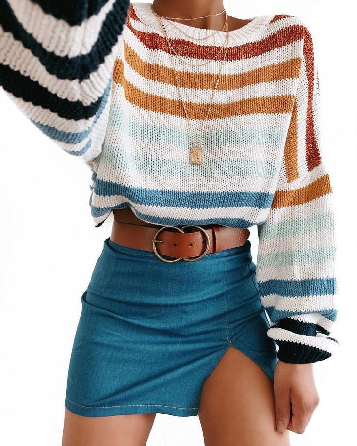 Roupa | Estilo | Moda outono | ootd pulôver listrado | mini saia azul | lä …   – Kochen