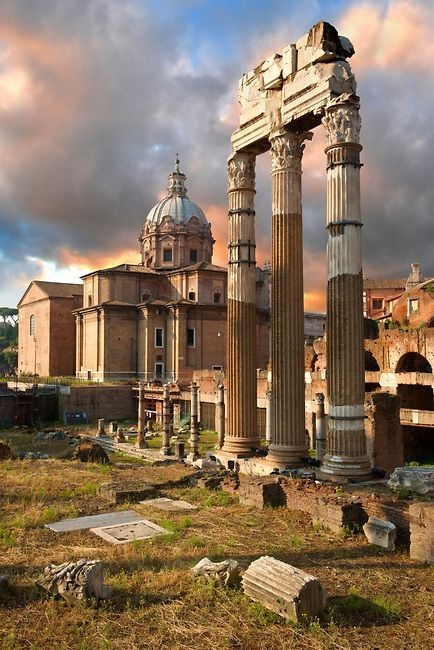 Temple of Castor and Pollux, Roman Forum, Rome, Italy...