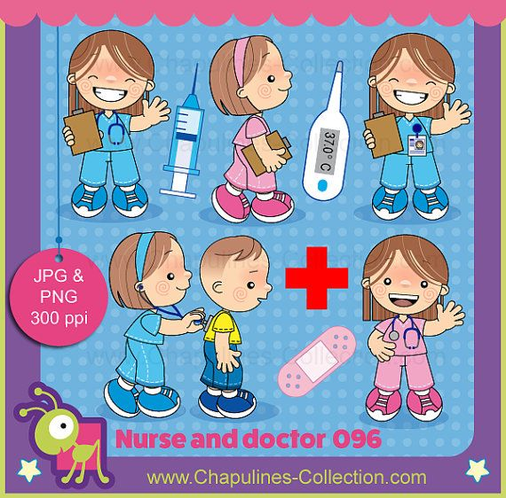This nurse and doctor clipart set includes:  - 9 white background jpg illustrations and 9 transparent background png illustrations.  The