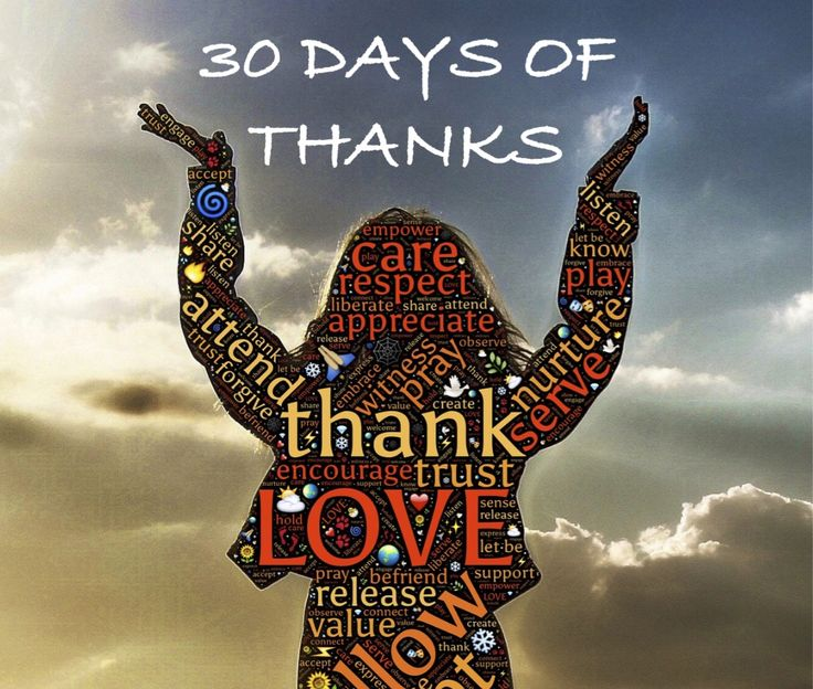 Join me in 30 Days of Thanks!  One word each day to inspire thankfulness - let's see what 30 days of gratitude really feels like!