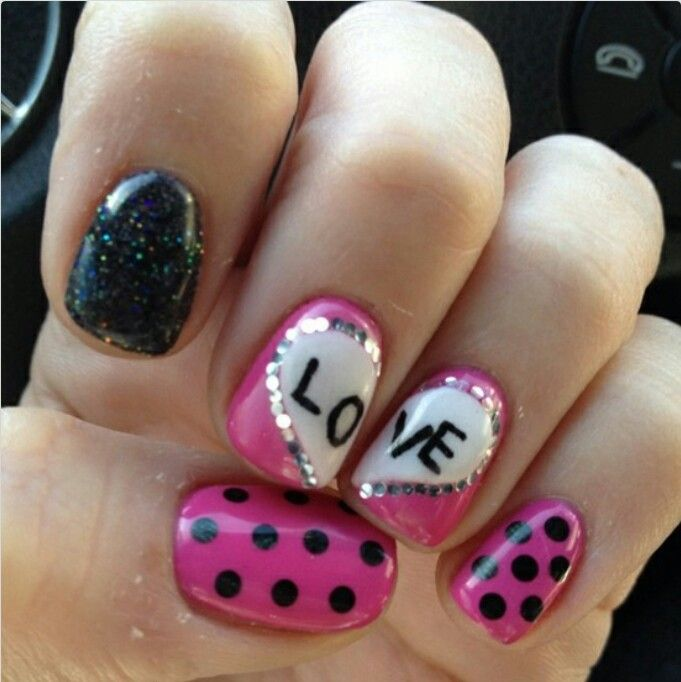 2014 Simple Valentines nail design -pink with black polka dots| See more at http://www.nailsss.com