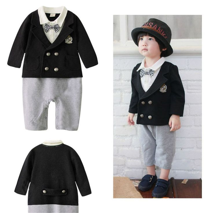 Wholesale 4pcs/lot Infant Toddler Baby Boy's Formal Wear Tuxedo Rompers,bow tie baby clothing boy infant wear free shippingNO.58