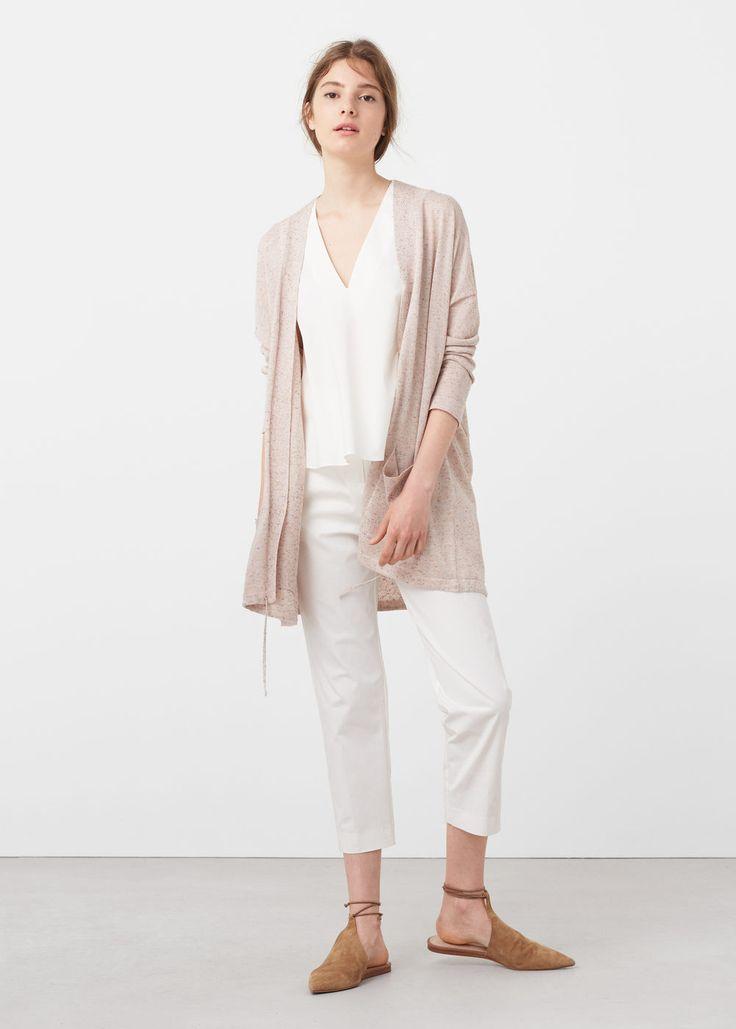 Flecked fine-knit cardigan   MANGO