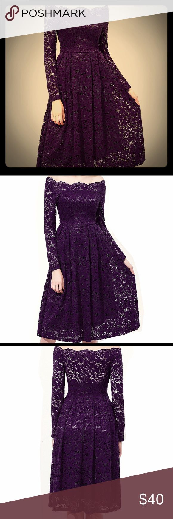 Dark Purple Lace long sleeve dress formal NWT Pretty in purple! Dark Purple / deep eggplant  color Lace long sleeve plus size dress- off the shoulder scalloped bateau neck line- retro vintage look on trend- great for formal or semi-formal - perfect party dress, wedding dress, church dress, pinup girl, rockabilly formal, burlesque, date nite etc retro cocktail dress, evening dress, tea length dress- mother of the bride, bridesmaid- side hidden zipper- bought as wedding guest- too late to…