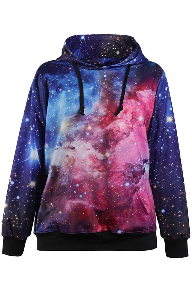 The sweatshirt is featuring starry sky print. Long sleeve. Drawstring hood. Loose fit.