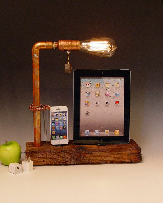 Double iPhone 3 4 5 dock AND table lamp. Reclaimed by hairqueen48