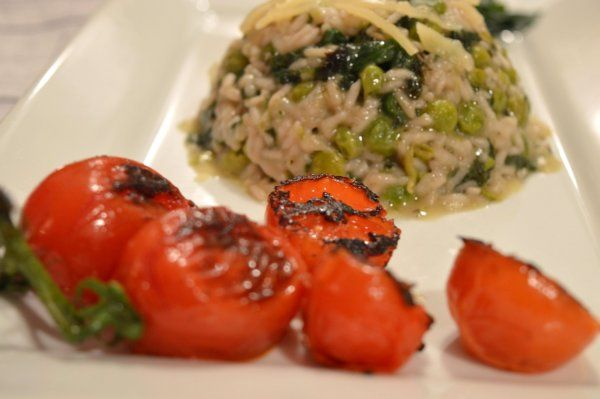 risotto with spinach peas and tomato