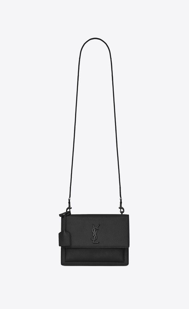 cd0d03102b2b SAINT LAURENT Sunset Woman Medium SUNSET FES bag in black grained leather  a V4