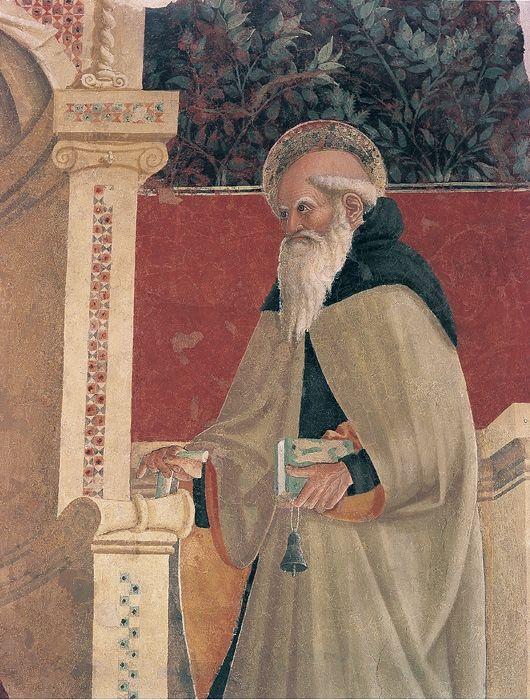 Giovanni Angelo d'Antonio - Madonna in trono col Bambino tra i santi Nicola da Tolentino e Antonio Abate (particolare) - 1449 - affresco strappato - Camerino, Pinacoteca civica