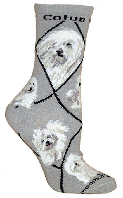 Coton de Tulear Dog Breed Novelty Socks Gray