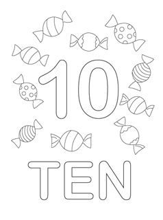 number coloring pages 1-10. Use these pages to make a class number book