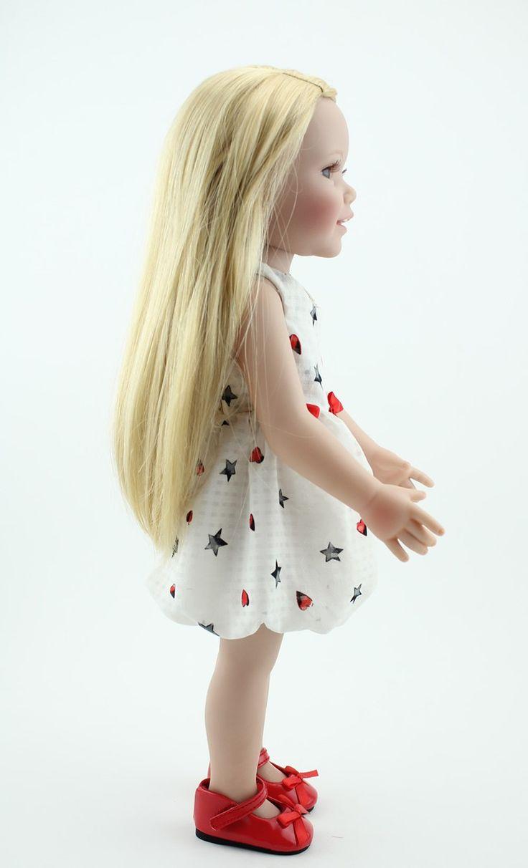 Светлые длинные волосы полный винил американская девушка куклы 18''Lifelike ручной детские куклы полное тело силикон игрушки дети мода играть кукла купить на AliExpress