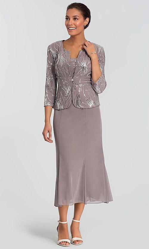 f0b8ec2dc5 Tea-Length Alex Evenings MOB Dress with Jacket